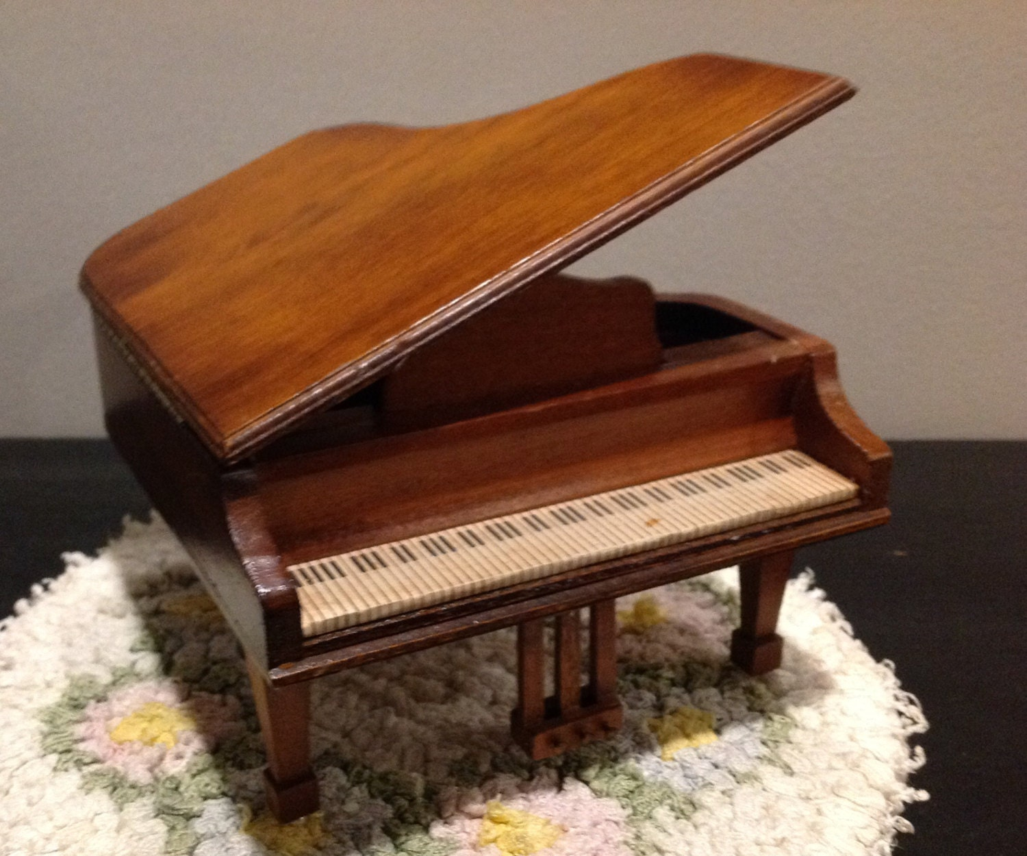 Vintage Dollhouse Baby Grand Piano Music Box Handcrafted
