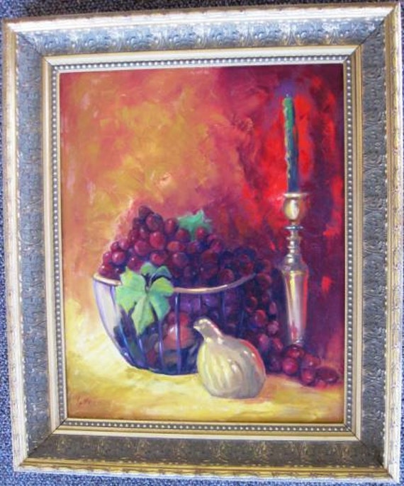 Brass & Glass, Artist Yvonne Sailers OILS, Picture 11 x 14 Frame 15 1/2 x 18 1/2