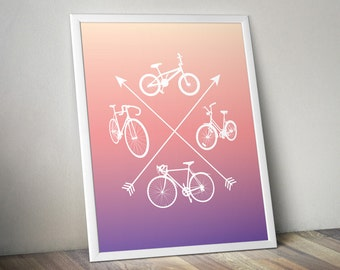 Four Bicycles Poster - Miami Sunset Edition : Bike art, bike poster, bike silhouette, bicycle art