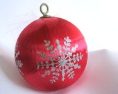 Vintage Red Satin Christmas Holiday Ornament with Silver Glitter Snowflake