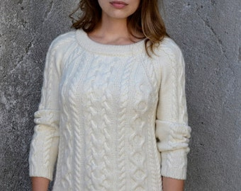 INSTANT DOWNLOAD PDF Knitting Pattern for Women's Aran Sweater Jumper Pullover with Cable
