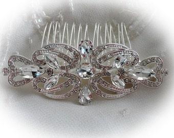Art Deco vintage 1920's-1930's style bridal hair comb silver colour