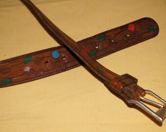 Vintage 1970's - Western Leather Flower Belt