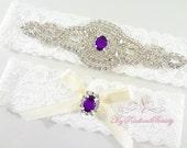 Bridal Garter, Wedding Garter, Rhinestone Garter, Applique Garter, Purple Rhinestone Garter, Lace Garter, Custom Garter, Garter Set GTA0034
