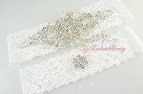 Wedding Garter Set, Garter, Bridal Garter Set, Crystal Applique Garter, Wedding Rhinestone Garter, Handmade Garter Set, MRB Bridal GTA0016