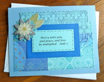 Mercy unto you, and peace, Scripture Encouragement Card, Handmade Christian Greeting Card, Colorful Bible Inspiring Religious Christian Card