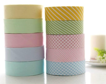 Cotton tape Twill Bias Fabric Tape in Solid Stripe Check 3.5cm/1.4inch wide - 8 yards