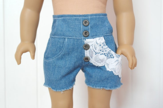 Extra High-Waisted Denim Shorts with Lace Detail