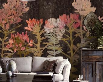 Spring Floral Wallpaper Art Bedroom Living Room Retro Apricot Flower Wall Mural Large Print Ivory Dark Brown Aqua Blue