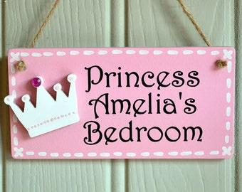 Personalised candy pink princess door plaque with crown embellishment & Door plaque | Etsy