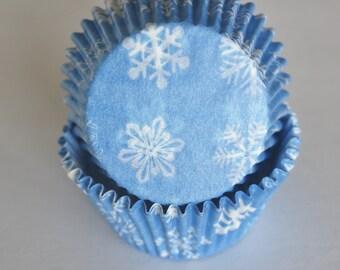Light Blue Snowflake Cupcake Papers