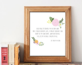 Hymn Wall Print, Be Thou My Vision. With floral design and instant download.