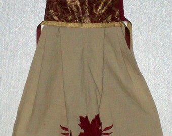 Hanging Towel -  Cream Towel w/Red leaves - Red & Gold Top