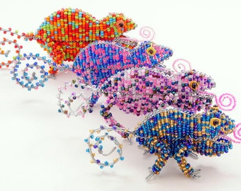 African Fair Trade Mini Beaded Chameleon - Wireworx wire and glass beaded animal