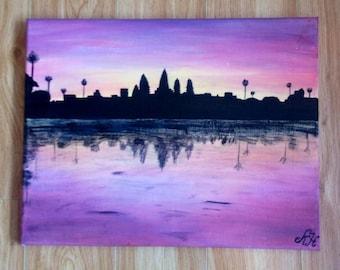 Sunset at Angkor Wat Cambodia acrylic painting
