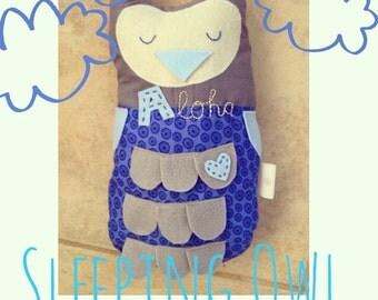 Owl pillow -little sleepy owl- personalized option, chevron