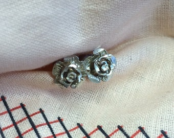 Vintage Sterling Textured Rose Post Earrings