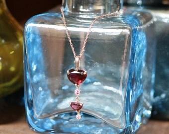 Heart Garnet Dangling Necklace in 10k Rose Gold January Birthstone Necklace Gemstone Drop Pendant