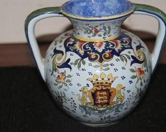 Antique Faience de Rouen Pot  vase French pottery