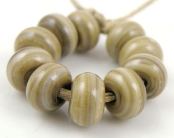 683 Dark Fossil Made to Order SRA Lampwork Handmade Artisan Glass Spacer Beads Set of 10 5x9mm