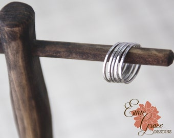 Sterling Silver Stacking Rings, Individual Bands, Hammered Bands, Sizes 4, 5, 6, 7, 8, 9, 10, 11, 12 and half sizes