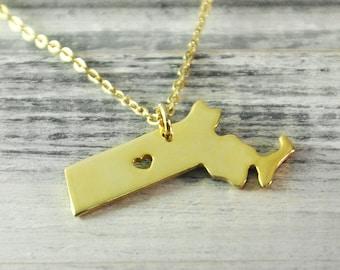 I  heart  Massachusetts  Necklace Massachusetts  pendant 18K gold plated state necklace state pendant map pendant  hammered state necklace