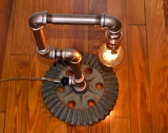 Industrial steampunk pipe lamp with vintage styled copper for Industrial pipe light socket