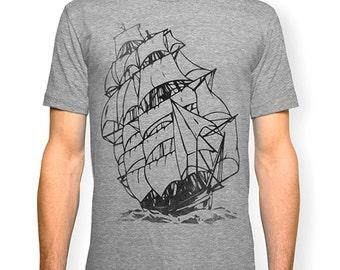 Tall Ship Tshirt, Nautical T shirt, Sailing Ship t-shirt, Screen print tee, Pirate Ship t-shirt, Marine tshirt, from Signal Whiskey.