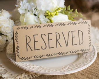 Rustic Wedding Reserved Table Sign - Instant DOWNLOAD - foldover tent style, Double-sided Printable Rustic Wedding Table Sign, JPEG & PDF