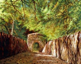 Hermitage Bridge, Dunkeld, Perth & Kinross. Original painting of the Hermitage Bridge straddling the River Braan in spectacular woodlands.