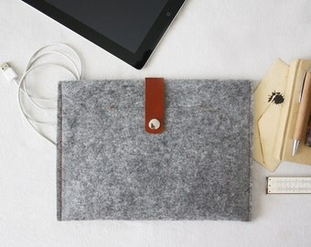 iPad Felt Case, Cover iPad mini, Samsung Galaxy, Felter and Leather Case with poket - Made in Italy Tablet Felt cover , gift idea iPad