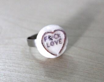 F*ck Love anti love heart ring