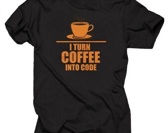 Programmer T-shirt Programming I Turn Coffee into code T-shirt Shirt Funny HTML IT manager Shirt