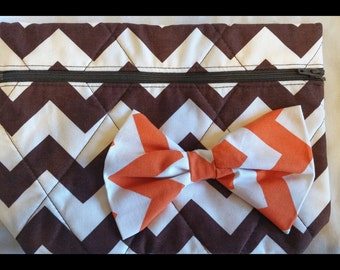 Chevron Tangerine and Chocolate Cosmetic Bag