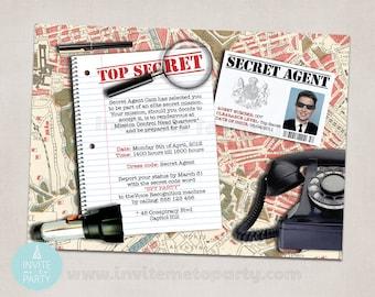 Secret Agent Party Invitation / Detective Party Invitation / Spy Party Invitation