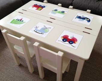 Children's Table and Chair Set -  Large Size - Transport - Kids Table and Chair Set, Boys Desk, Boys Furniture, Boys Room Decor, Play Table
