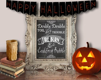 Double Double Toil & Trouble, Halloween, Printable Wall Art, Decor Poster, Digital - WallFlower Printables
