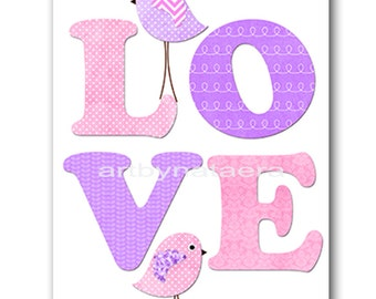 Love Nursery Digital Art Printable Print Baby Girl Nursery Art Children Art Kids Wall Art Digital Download 8x10 11X14 INSTANT DOWNLOAD
