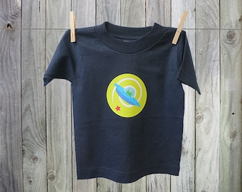 Fun and Funky Alien in Spaceship Tshirt for Kids. Perfect for Boys!