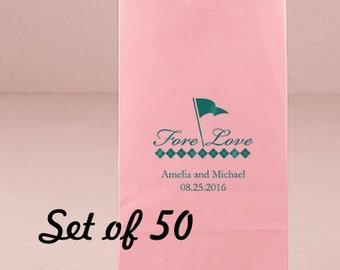 Personalized Wedding Kraft Bag - Golf Wedding - Golf Lovers - Wedding - Wedding Favor Bag - Goodie Bag - Set of 50 - Favor Bag