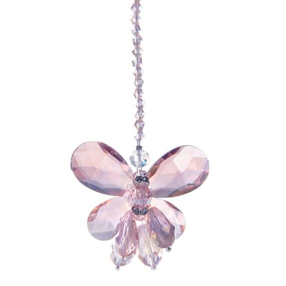 Pink Crystal Chandelier Prisms Hanging Pendants Xmas