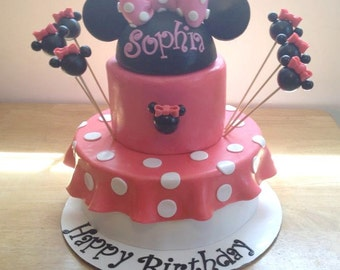 Minnie Mouse Cake Topper and Decorative Balloons