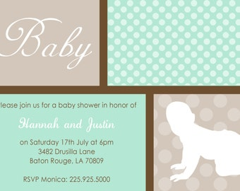 baby silhouette shower invitations