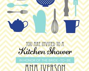 chevron kitchen shower Invitation