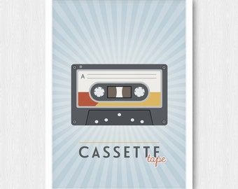 Retro Cassette Tape Print, Wall Print, Wall Decor, Colorful, Mix Tape, Music, Printable, Digital Poster Print, Instant Download