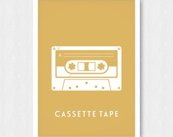 Gold Cassette Tape Print, Wall Print, Wall Decor, Gold, Cassette Tape, Mix Tape, Music, Gilded, Printable, Digital Poster, Instant Download