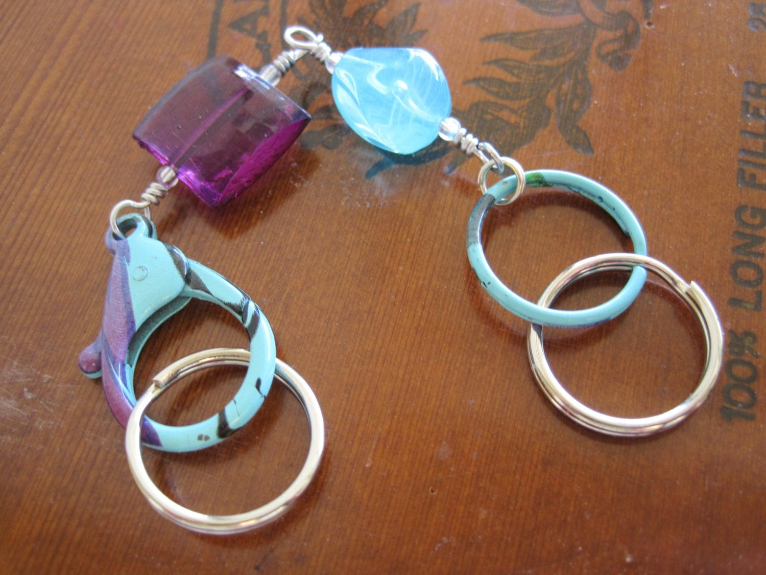 Key Chain Purple And Turquoise Beads With Colorful Carabiner