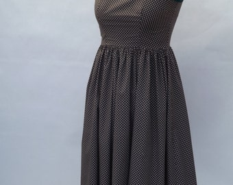 Lovely Brown and White Polka Dot Cotton Dress UK - 12