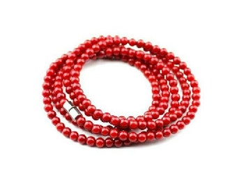Authentic Red Coral Wrap Bracelet-WEN10867842274-CLR