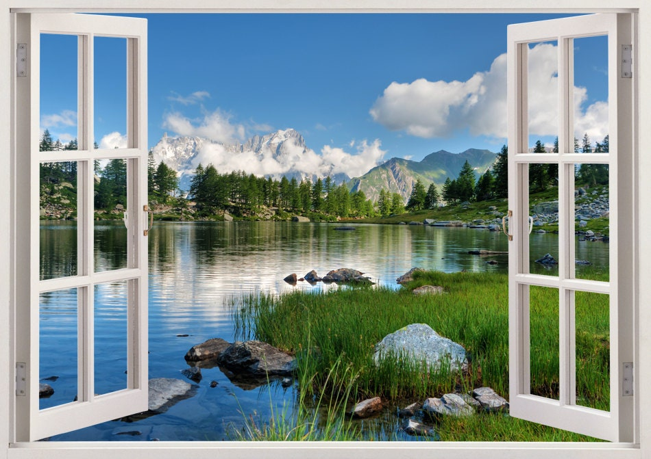 Lake wall stickers 3D window decor lake wall sticker for home